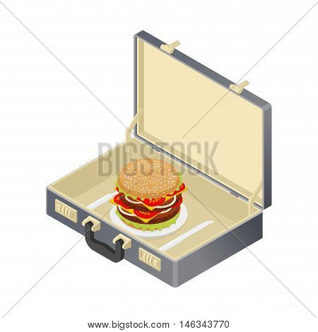 Business Lunch, Hamburger In Case. Suitcase With Fast Food