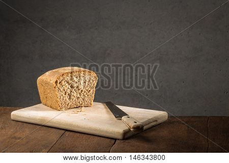 Halved Loaf Of Freshly Baked Bread