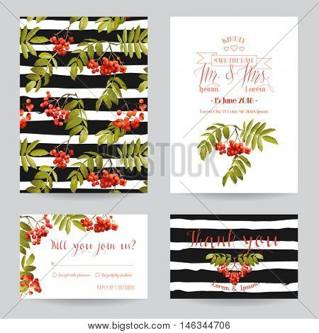 Save the Date - Wedding Invitation or Congratulation Card Set - Ash Berry Autumn Floral Theme - in Vector