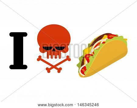 I Hate Taco. Skull Symbol Of Hatred And Traditional Mexican Food. Tortilla Chips And Onion. Tomato A