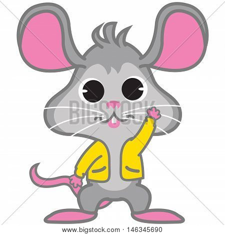 Rat Waving of vector art illustration tshirt design