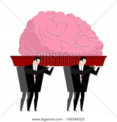 Funeral Of Brain. Mind Is Carried In Coffin. Burial Reflection