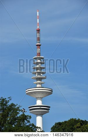 HAMBURG, GERMANY - AUG 26. View of the radio telecommunication tower Heinrich Herz Turm in Hamburg, Germany, as seen on Aug 26, 2016. With a height of 279m, the tower is the tallest building in the city.