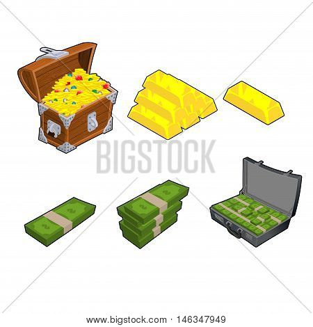 Chest With Gold. Golden Bar. Case With Money. Wad Of Cash. Dollars Stack. Set Wealth. Financial Set