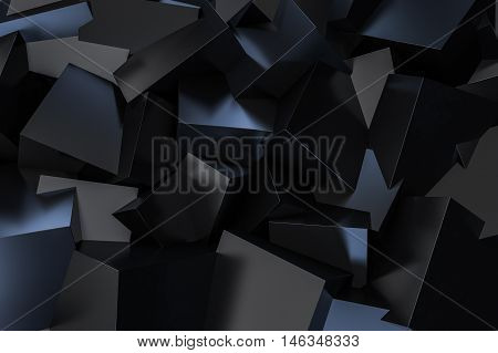 Black Cube Box scattering on floor 3d rendering