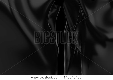 Black abstract dramatic cloth background 3d rendering