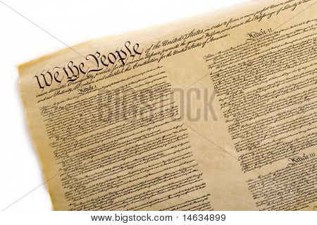 A copy of the United States Constitution on a white background