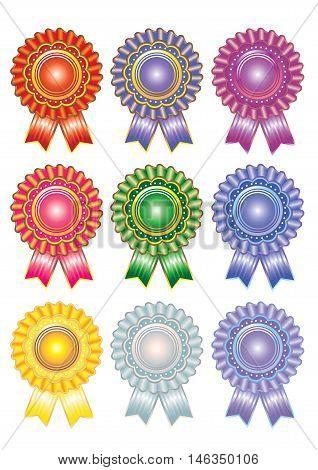 9 pieces colourful rosette ribbon award set