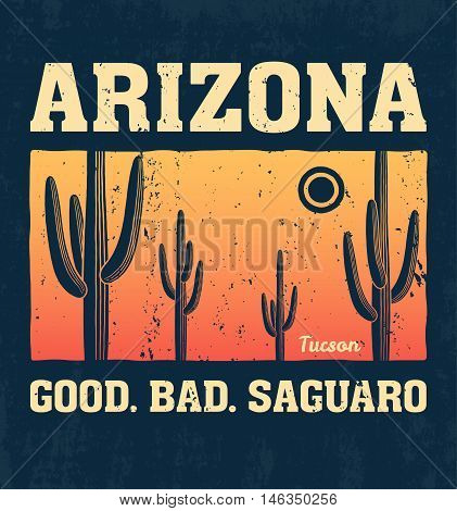Arizona t-shirt design print typography label with saguaro cactus. Vector illustration.