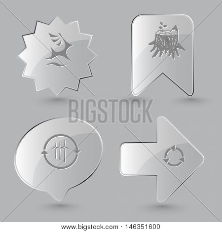 4 images: deer, stub, wind turbine, recycle symbol. Ecology set. Glass buttons on gray background. Vector icons.