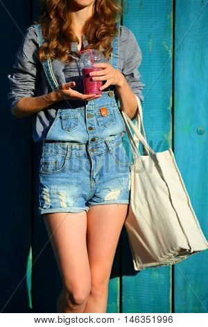 Woman With Linen Bag Keep In Their Hands Disposable Cup With Smoothies