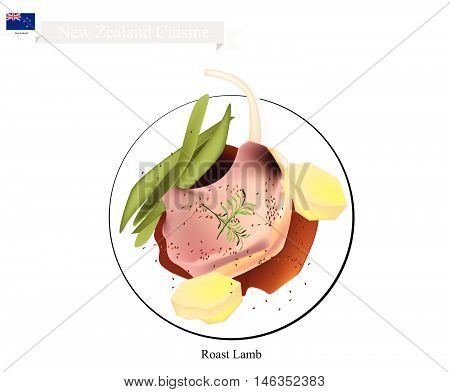 New Zealand Cuisine Illustration of Traditional Roasted Lamb with Potatoes and Green Beans. A Popular Dish of New Zealand.