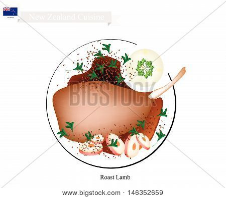 New Zealand Cuisine Illustration of Traditional Roasted Lamb Legs with Herb. A Popular Dish of New Zealand.