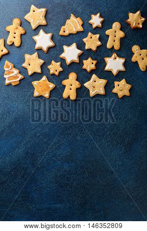 Christmas Gingerbread Cookies On A Slate Background