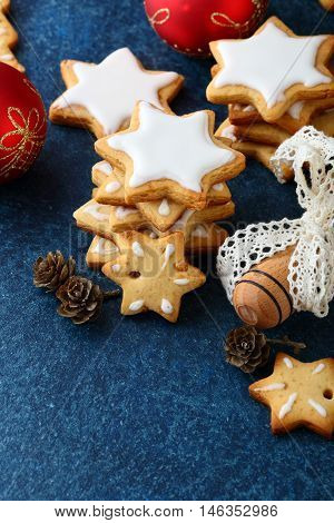 Christmas Gingerbread Cookies In The Shape Of Star