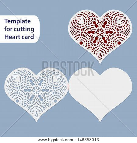 Paper openwork wedding card heart shape greeting postcard template for cutting lace imitation gift on Valentine's Day love letter vector illustration