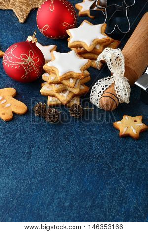 Christmas Cookies With Ginger In The Shape Of Star And Balls