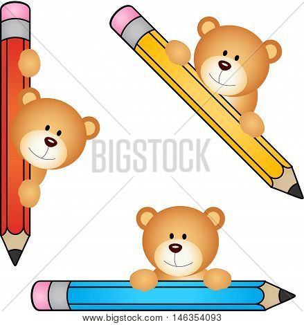 a teddy bear with pencil, isolated on white.