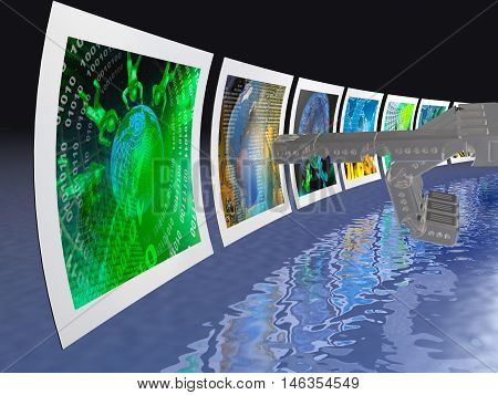 Screens with pictures and robot hand blue background, 3D illustration.