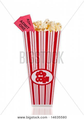 A container of movie popcorn with two tickets on a white background