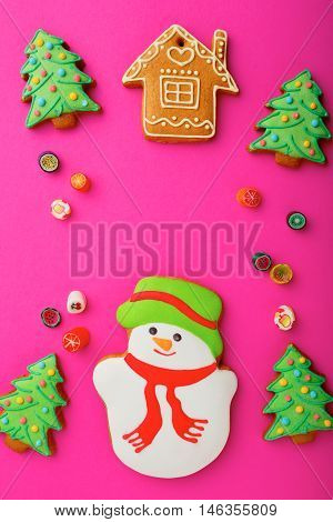 Christmas Cookies In The Shape Of Snowman, House, New Year Tree And Candy