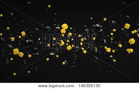 abstract yellow atom nano technology particle background 3d rendering