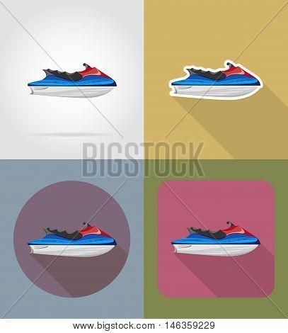 aquabike flat icons vector illustration isolated on background