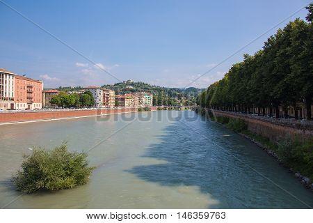 Embankment of river Adige in Verona Italy