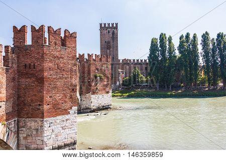 Verona Italy. Scenery with Adige River and Ponte Scaligero and Castelvecchio medieval landmarks