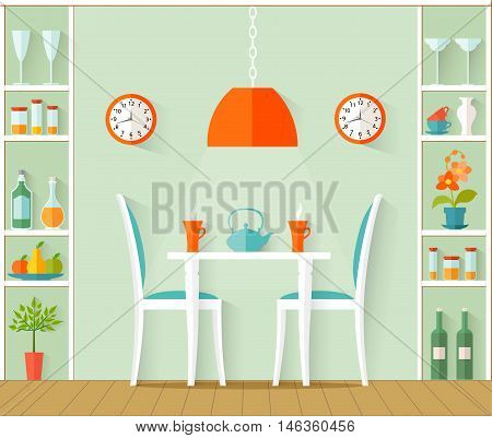 Vector interior dining room. The design of cafe bistro restaurant or dining area in the house in the flat style.