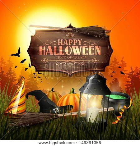 Old lantern and pumpkins in the grass in front of gloomy forest- Halloween greeting card