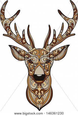 Hand drawn doodle ornate deer illustration. Decorative colorful deer head drawing