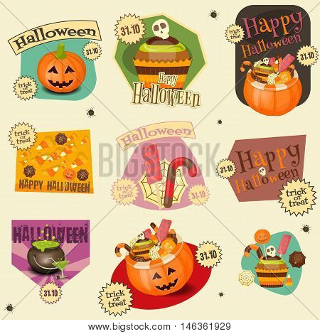 Halloween Stickers Set - Simbols and Signs of October Halloween. Sweet Treats and Jack-o-lantern. Vector Illustration.