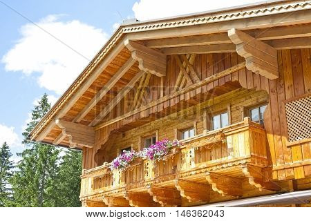 Typical brown wooden balcony in Tirol Austria