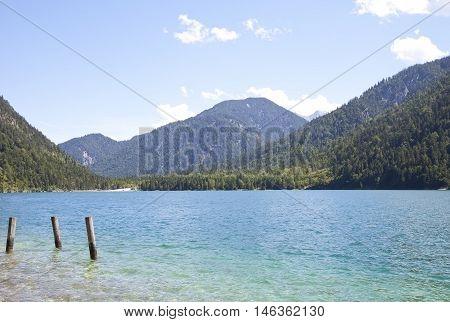View at beautiful lake Heiterwangersee in Tirol Austria Europe