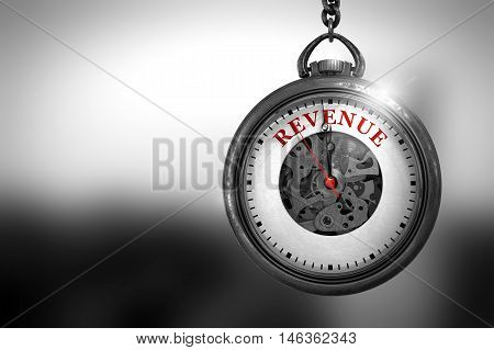 Business Concept: Revenue on Vintage Pocket Clock Face with Close View of Watch Mechanism. Vintage Effect. Business Concept: Pocket Watch with Revenue - Red Text on it Face. 3D Rendering.