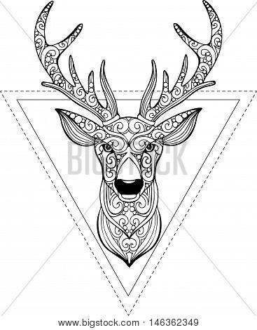 Hand drawn doodle ornate deer illustration. Decorative deer head drawing for coloring book