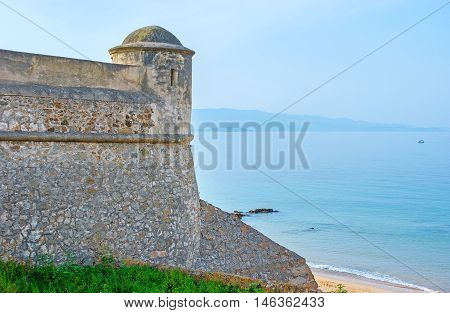The Citadel walls neighbors with the central beach Ajaccio Corsica France.