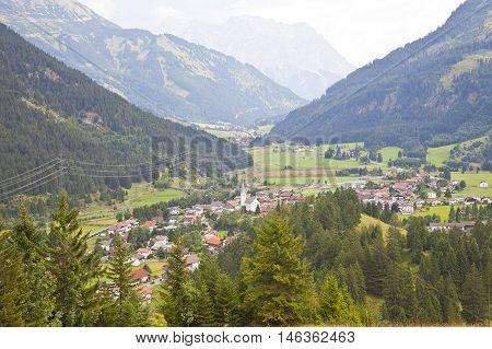 View at little village Bichlbach in Tirol Austria Europe