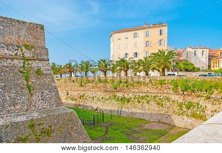 The medieval Citadel is surrounded by the dug moat with the fortified stone walls Ajaccio Corsica France.
