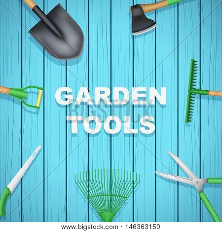 Background of Season Garden tools on blue wood backdrop. Taking care of a garden or a farm. Vector Illustration