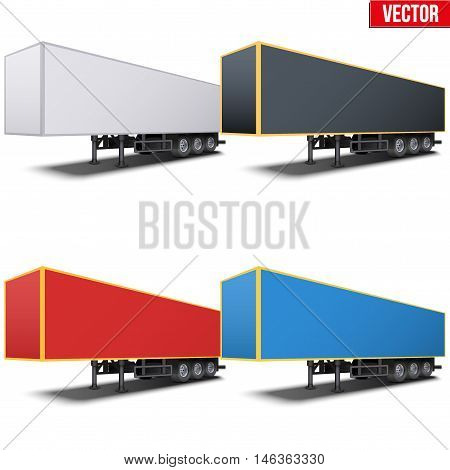 Set of parked van semi trailers Perspective side view. Vector Illustration Isolated on white background