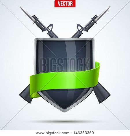 Sign of Military Shield with ribbon and rifles. Symbol of defense and power. Editable Vector Illustration isolated on white background.