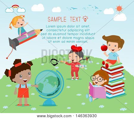 happy cartoon kids with education concept, back to school template with kids, Kids go to school, back to school, Cute cartoon children, happy children, Vector Illustration.