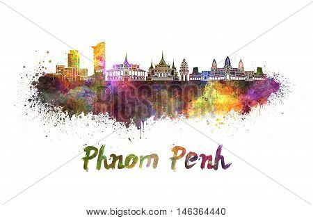 Phnom Penh skyline in watercolor splatters with clipping path