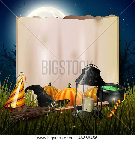 Old lantern and pumpkins in the grass in front of old paper in gloomy forest - Halloween background