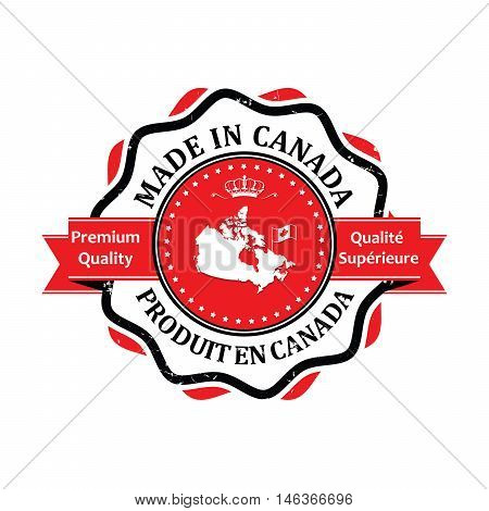 Produit en Canada, Qualote Superieure (French Language)  -Translation:  Made in Canada, Premium Quality - grunge label containing the map and flag colors of Canada. Print colors used