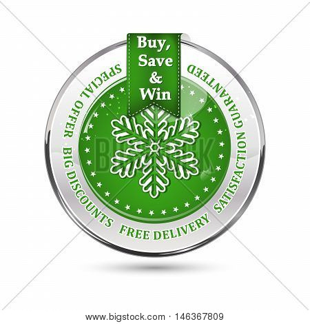 Winter sales stamp with snowflake. Big winter sales stamp with a ribbon and a shiny green icon: special offer, free delivery, satisfaction guaranteed