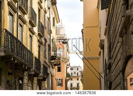 Beautiful street view of  Verona center which is a world heritage site