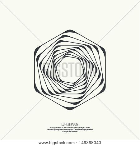 Abstract background with intersecting geometric shapes. Hexagon geometry. Badge, monogram, banner. Black and White. shutter